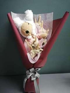 Hand bouquet with bunny