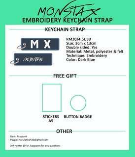 MONSTA X EMBROIDERY KEYCHAIN STRAP