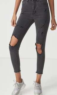 Women's black destroyed high waisted denim jeans M