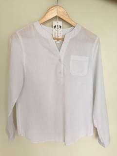 🚚 Korean style loose white striped shirt