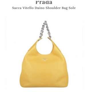 🚚 Prada Sacca Vitello Daino Shoulder Bag Sole