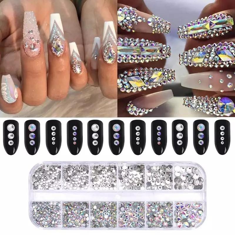 12 Grid Shiny Crystal Nail Rhinestone AB Silver Flat Stone 3D ... 5777ecc11b89