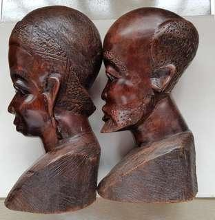 Antique tribal wooden heads