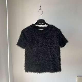 NEW Zara black faux fur top