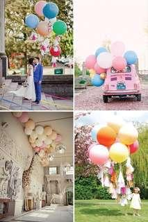 Giant balloons - red, silver and white