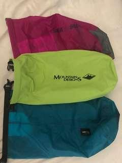 Set of 3 dry bags, mountain designs great for camping