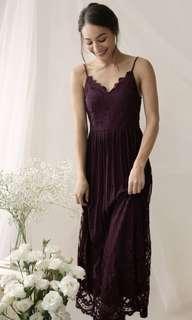 Halia Lace Maxi Dress (The Tinsel Rack) in Plum