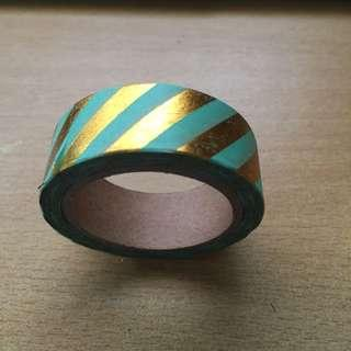 Turquoise Washi Tape with Gold Stripes (Brand New)