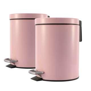 2X Foot Pedal Stainless Steel Rubbish Recycling Garbage Waste Trash Bin Round 12L Pink