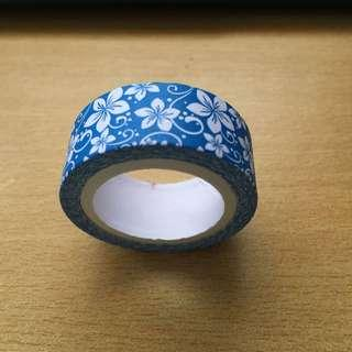 Blue with Flowers Washi Tape (Brand New)