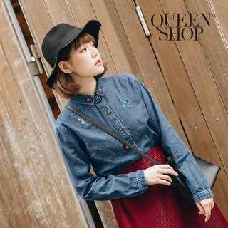 🚚 QueenShop 繡花圖案裝飾長袖牛仔襯衫