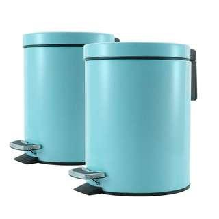 2X Foot Pedal Stainless Steel Rubbish Recycling Garbage Waste Trash Bin Round 7L Blue