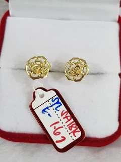 Rose Earrings Saudi Gold