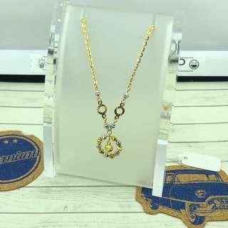 🚚 916 gold necklace with pendant