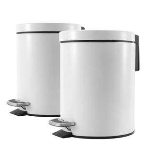 2X Foot Pedal Stainless Steel Rubbish Recycling Garbage Waste Trash Bin Round 7L White