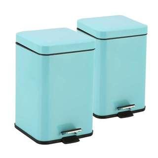 2X Foot Pedal Stainless Steel Rubbish Recycling Garbage Waste Trash Bin Square 12L Blue