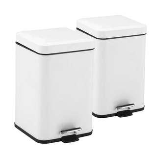 2X Foot Pedal Stainless Steel Rubbish Recycling Garbage Waste Trash Bin Square 12L White