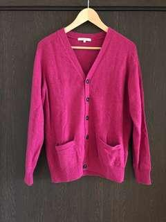 100% Wool Men Cardigan Japanese Size M, Pink