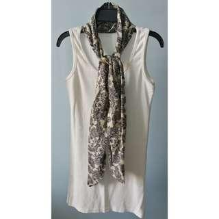Preloved Sleeveless White Cotton Dress with Scarf