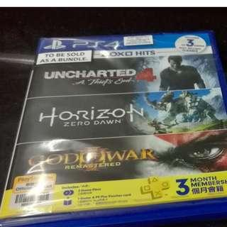 Horizon zero dawn & Uncharted blu ray disk combo ps4 games