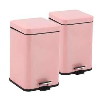 2X Foot Pedal Stainless Steel Rubbish Recycling Garbage Waste Trash Bin Square 6L Pink