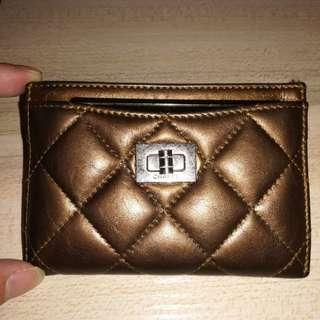 Chanel Bronze Quilted Reissue Card Holder with Card and sticker