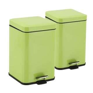 2X Foot Pedal Stainless Steel Rubbish Recycling Garbage Waste Trash Bin Square 12L Green