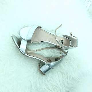 Silver Mid heels