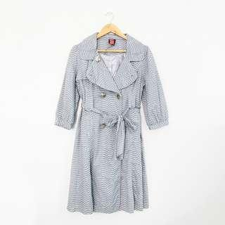 Korean Fashion Style Light Gray Trench Tied Front Dress