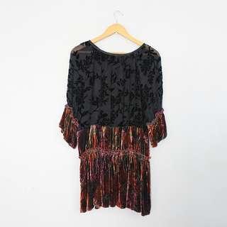 (S-M) Ju's Sheer Lace & Velvet Mini Dress