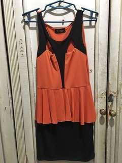 Orange and Black Formal Short Dress