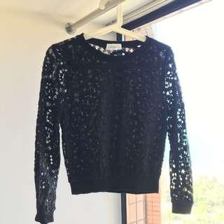 黑色高貴暗花上衣 Black ladies floral long sleeve T-shirt