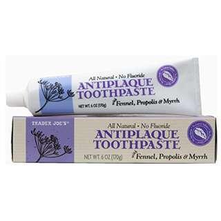 Trader Joe's 天然抗斑牙膏 (含茴香/蜂膠/沒藥 - 不含氟化物)   Natural Antiplaque Toothpaste with Fennel, Propolis and Myrrh 5036