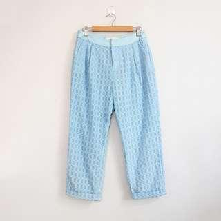 (S-M) Vintage Style High-Waisted Squared Design Ankle Pants
