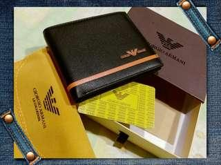 (Stock on 20Apr-1) Giorgio Armani brand new genuine yellow stripe black leather men's wallet