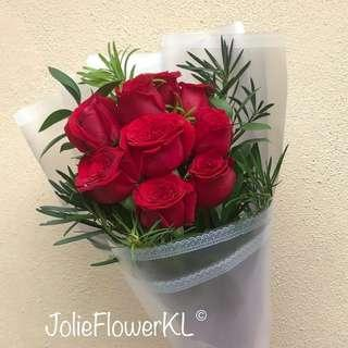 Fresh red roses bouquet