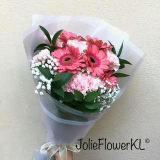 Fresh Gerbera Daisies and Carnations bouquet