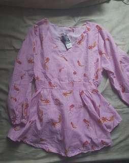 📌SALE blouse pink fish