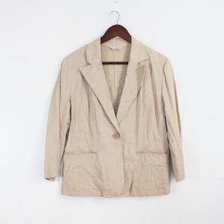 Vintage Style Beige Linen Blazer Jacket