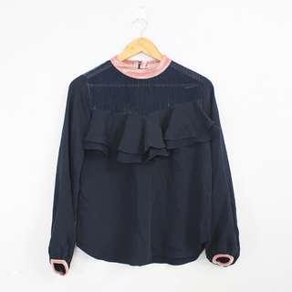(S-M) Korean Fashion Style Dark Blue & Rose Beige Lightweight Blouse Top