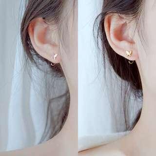 蝴蝶🦋純銀氣質簡約個性耳鈎百搭少女心ins