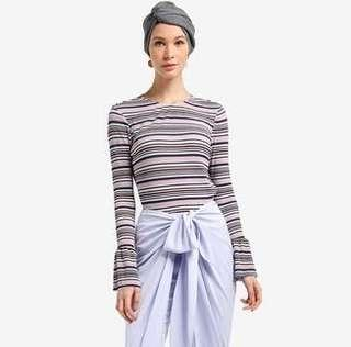 REDUCED! Lubna Stripes Pleated Blouse Top