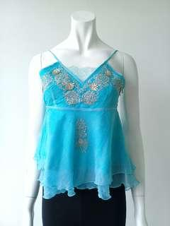 Blue Silk Chiffon Top with Silver Embroidery #CNY888