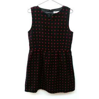 🚚 黑色紅點毛料洋裝
