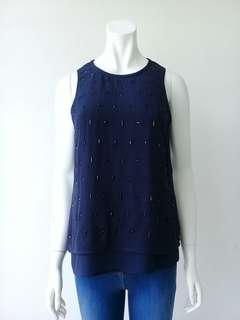 H&M Blue Top Blouse with Sequins #CNY888