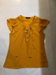 morgan mustard yellow crisscross ribbon blouse