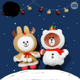 Line Friends 日本 限量版 聖誕公仔 一套