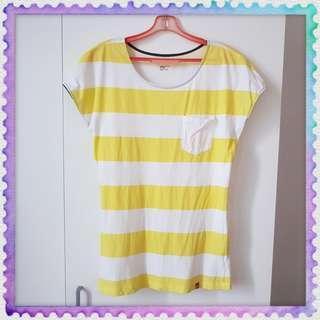 PDI T-shirt Yellow White line S size Padini (Pre-loved)