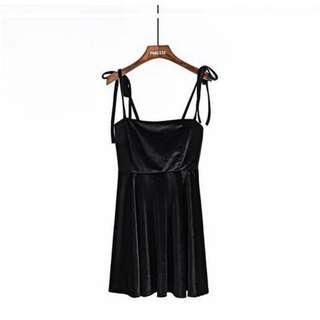 Black Babydoll Self Tie Up Dress 😍