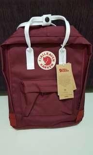 Instock brand new kanken Maroon red dark white strap, school bags /backpack classicup